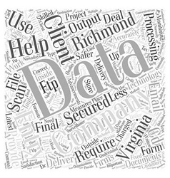 Data entry in richmond virginia word cloud concept vector