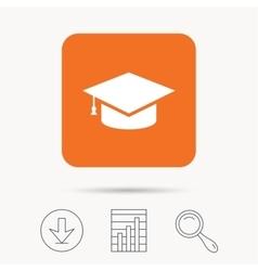 Education icon graduation cap sign vector