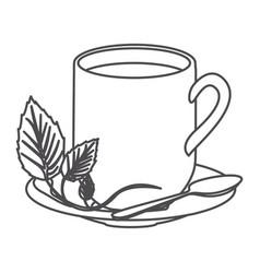 grayscale contour of hot mug of tea vector image