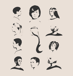 Collection of woman silhouettes vector