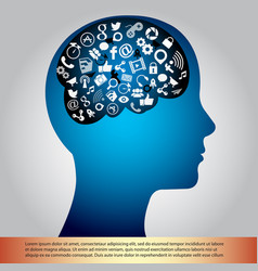 Brain and communication icon vector