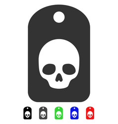 Skull label flat icon vector