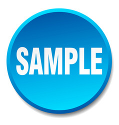 Sample blue round flat isolated push button vector