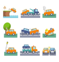 Car crash icons vector