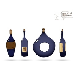 Wine bottles doodle style vector