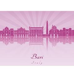 Bari skyline in purple radiant orchid vector image