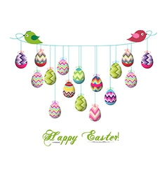 Two birds hold rope with easter eggs vector