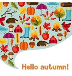 Background design with autumn icons and objects vector