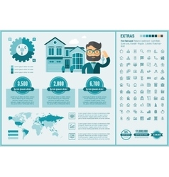 Real estate flat design infographic template vector