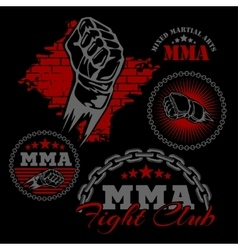 Mma mixed martial arts emblem badges vector