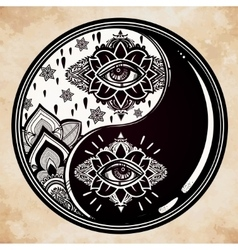 Yin and yang boho symbol vector