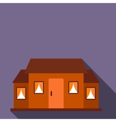 Small brown cottage flat icon vector