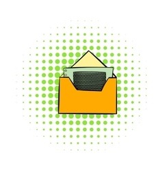 Money in envelope icon comics style vector