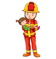 A drawing of a fireman rescuing a young girl vector image