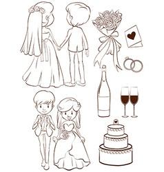 A plain sketch of a wedding ceremony vector image