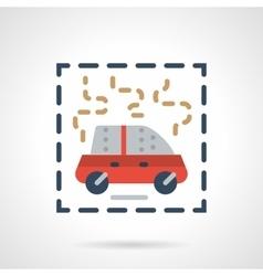 Burning car abstract flat icon vector