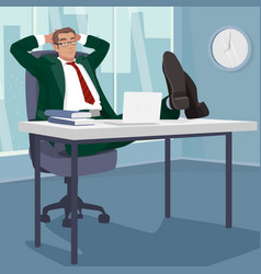 Carefree businessman sleeps in workplace vector