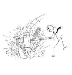 Cartoon of angry businessman destroying office vector