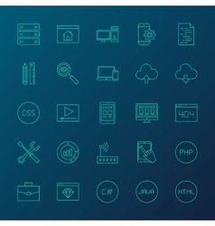 Coding resources line icons vector