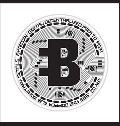 crypto currency bytecoin black and white symbol vector image vector image