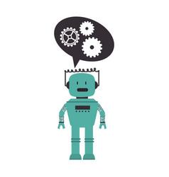 Electronic robot with speech bubble card icon vector