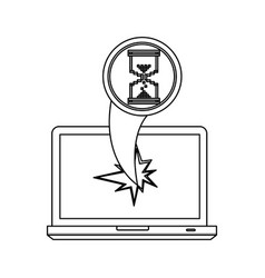 Figure computer hourglass cursor with hole icon vector
