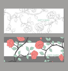 Gift card with delicate flowers vector