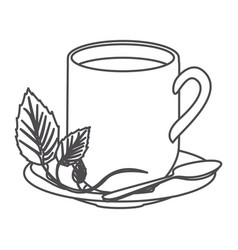 Grayscale contour of hot mug of tea vector