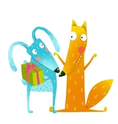 Happy birthday card template with bunny and fox vector