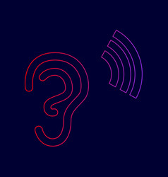 Human ear sign line icon with gradient vector