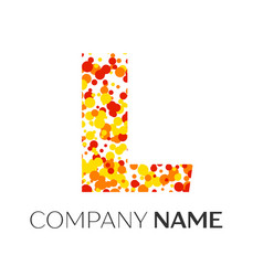 Letter l logo with orange yellow red particles vector
