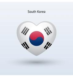 Love south korea symbol heart flag icon vector