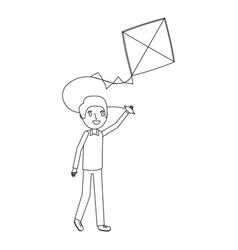 man holding kite funny happy image vector image