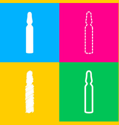Medical ampoule sign four styles of icon on four vector