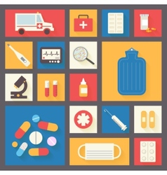 Medical icons set Ambulance and pharmacy vector image