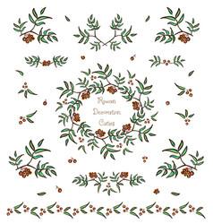 set of cute rowan twigs decorative elements vector image vector image