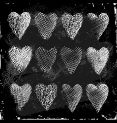 set of hearts hand drawn in chalk on a blackboard vector image vector image