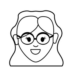 Silhouette happy face woman with glasses and vector