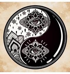 Yin and yang boho symbol vector