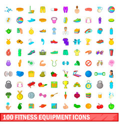 100 fitness equipment icons set cartoon style vector