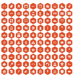 100 motherhood icons hexagon orange vector