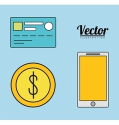 Smartphone credit card coin invoice payment icon vector