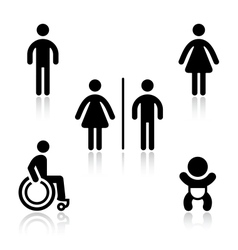 Toilet black set pictograms vector image