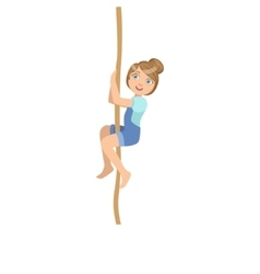 Girl Climbing A Rope As Physical Education Class vector image
