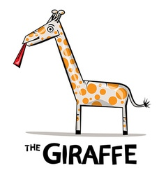 Giraffe cartoon funky giraffe with lick ton vector