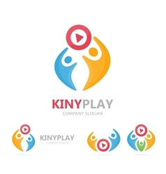 button play and people logo combination vector image