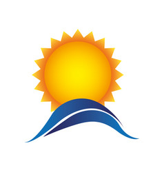 color sun with blue mountain icon vector image