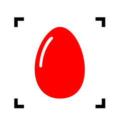 Chiken egg sign  red icon inside black vector