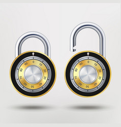 Combination padlock realistic metal vector