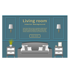 Living room design banner with furniture for your vector